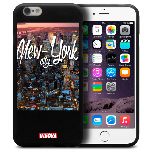 Vue détaillée de Coque iPhone 6 / 6s Inkova Extra Fine Noir City New York