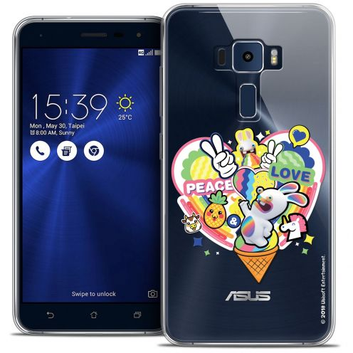 "Coque Gel Asus Zenfone 3 ZE520KL (5.2"") Extra Fine Lapins Crétins™ - Peace And Love"