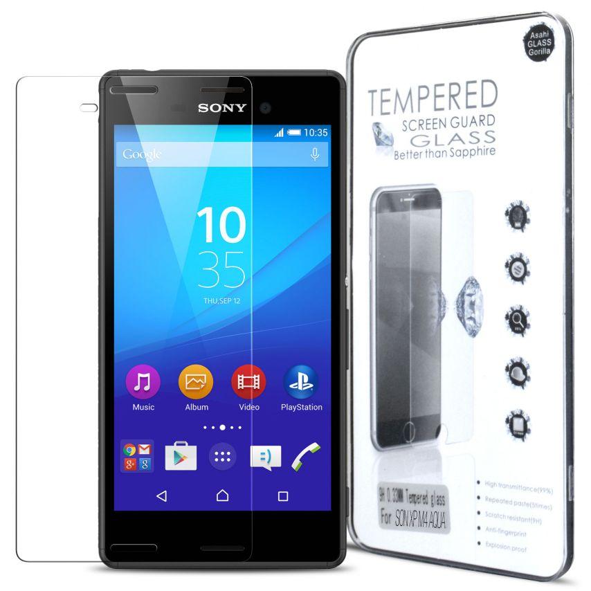 Vue détaillée de Protection d'écran Verre trempé Sony Xperia M4 Aqua - 9H Glass Pro+ HD 0.33mm 2.5D
