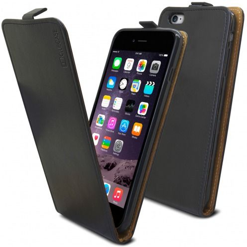 Etui Italia Flip Apple iPhone 6 Plus / 6s Plus Cuir Véritable Bovin Noir