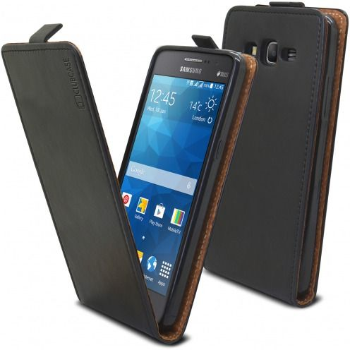 Visuel supplémentaire de Etui Italia Flip Samsung Galaxy Grand Prime Cuir Véritable Bovin Noir