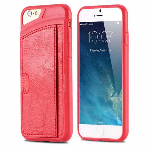 Coque iPhone 6 / 6s Cuir Eco Gel Porte-Carte Arrière Rouge