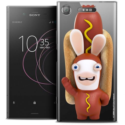 "Coque Gel Sony Xperia XZ1 (5.2"") Extra Fine Lapins Crétins™ - Hot Dog Crétin"