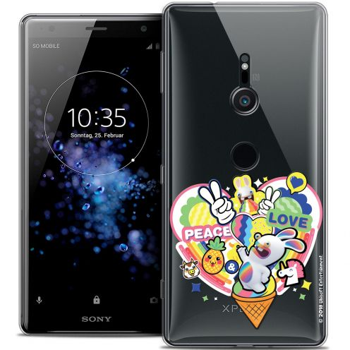 """Coque Gel Sony Xperia XZ2 (5.7"""") Extra Fine Lapins Crétins™ - Peace And Love"""