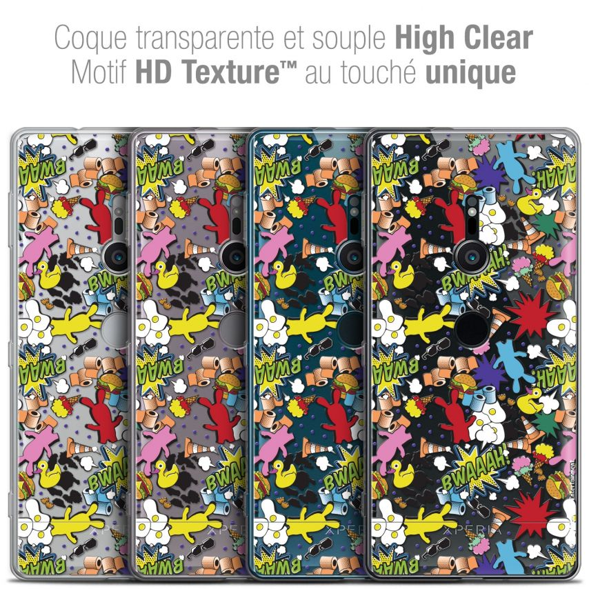 """Coque Gel Sony Xperia XZ2 (5.7"""") Extra Fine Lapins Crétins™ - Bwaaah Pattern"""
