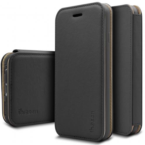 Photo réelle de Coque Etui Apple iPhone 6/6s iHosen® Shine Slim Folio - Noir