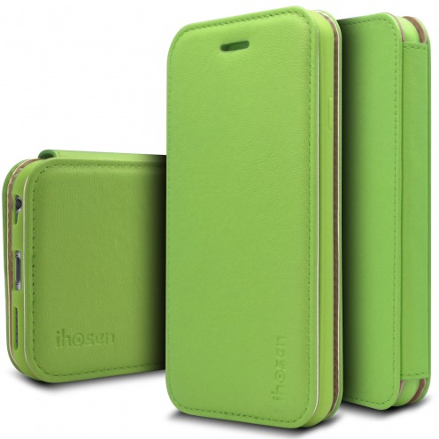 Photo réelle de Coque Etui Apple iPhone 6/6s iHosen® Shine Slim Folio - Vert