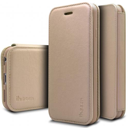 Coque Etui Apple iPhone 6/6s iHosen® Shine Slim Folio - Or