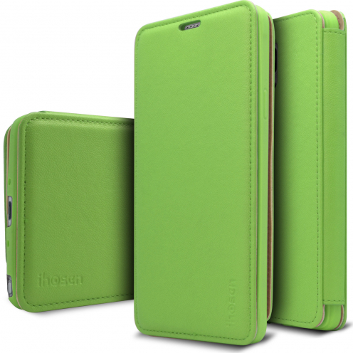 Photo réelle de Coque Etui Samsung Galaxy Note 4 iHosen® Shine Slim Folio - Vert