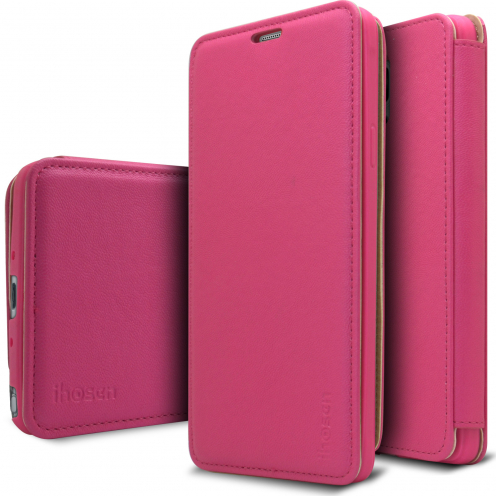 Photo réelle de Coque Etui Samsung Galaxy Note 4 iHosen® Shine Slim Folio - Rose