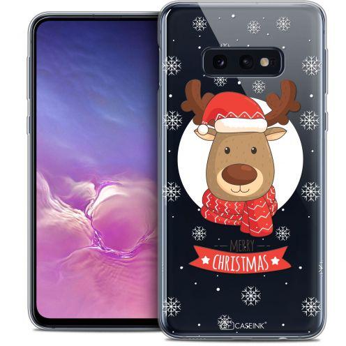 "Coque Crystal Gel Samsung Galaxy S10e (5.8"") Extra Fine Noël 2017 - Cerf à Echarpe"