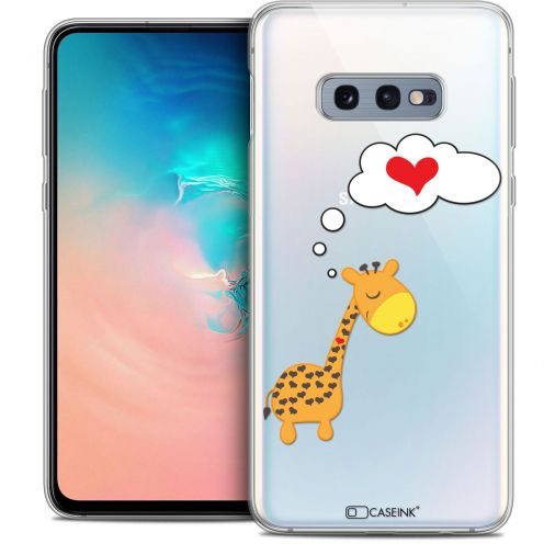"Coque Crystal Gel Samsung Galaxy S10e (5.8"") Extra Fine Love - Girafe Amoureuse"