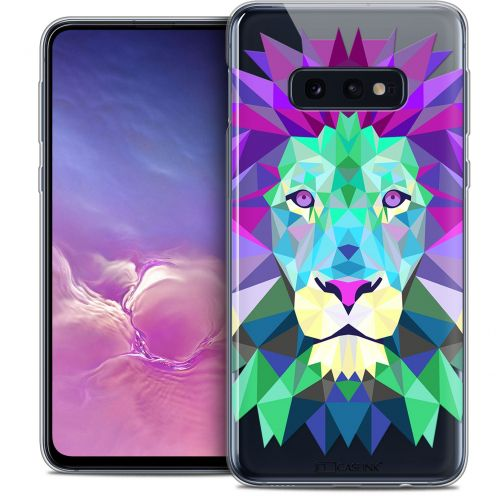 "Coque Crystal Gel Samsung Galaxy S10e (5.8"") Extra Fine Polygon Animals - Lion"