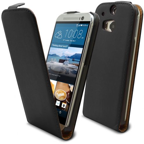 Coque Flip Vertical HTC One M8 Cuirette Eco Noir