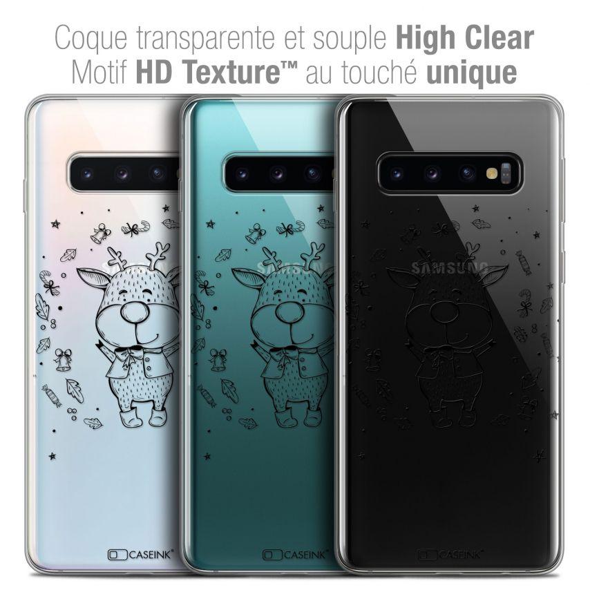 "Coque Crystal Gel Samsung Galaxy S10 (6.1"") Extra Fine Noël 2017 - Sketchy Cerf"