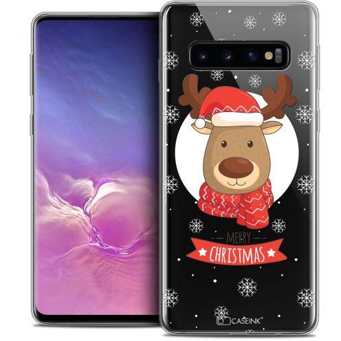 "Coque Crystal Gel Samsung Galaxy S10 (6.1"") Extra Fine Noël 2017 - Cerf à Echarpe"