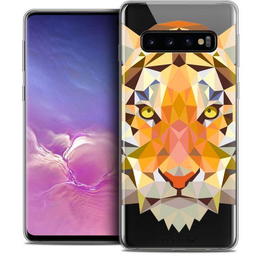 """Coque Crystal Gel Samsung Galaxy S10 (6.1"""") Extra Fine Polygon Animals - Tigre"""