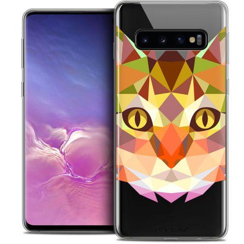 "Coque Crystal Gel Samsung Galaxy S10 (6.1"") Extra Fine Polygon Animals - Chat"