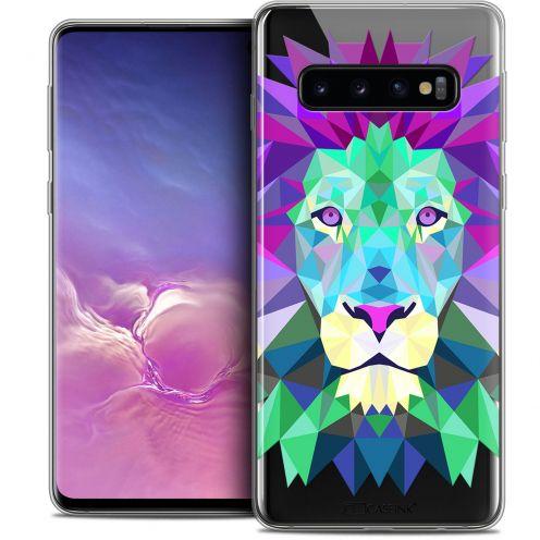 "Coque Crystal Gel Samsung Galaxy S10 (6.1"") Extra Fine Polygon Animals - Lion"