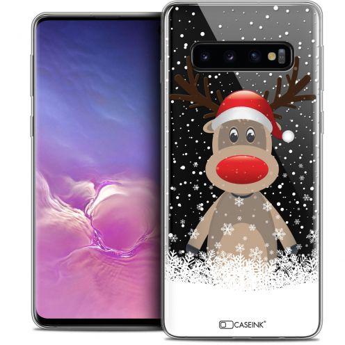 """Coque Crystal Gel Samsung Galaxy S10 (6.1"""") Extra Fine Noël 2017 - Cerf au Bonnet"""