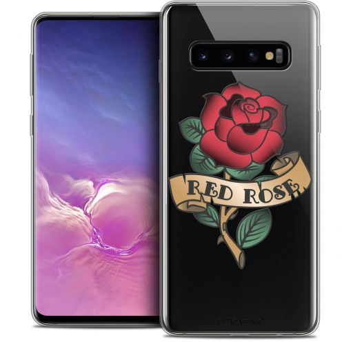 """Coque Crystal Gel Samsung Galaxy S10 (6.1"""") Extra Fine Tatoo Lover - Red Rose"""