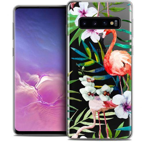 """Coque Crystal Gel Samsung Galaxy S10 (6.1"""") Extra Fine Watercolor - Tropical Flamingo"""