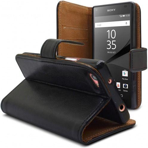 Vue complémentaire de Etui Italia Folio Stand Sony Xperia Z5 Compact Cuir Véritable Bovin Noir