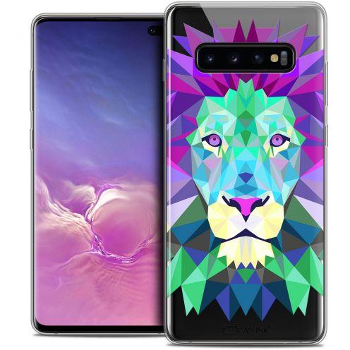 "Coque Crystal Gel Samsung Galaxy S10+ (6.4"") Extra Fine Polygon Animals - Lion"