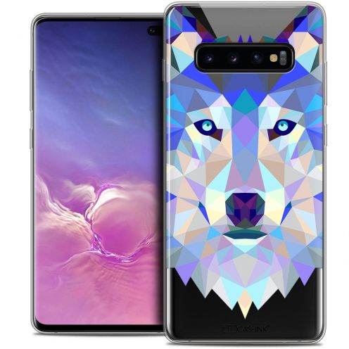 "Coque Crystal Gel Samsung Galaxy S10+ (6.4"") Extra Fine Polygon Animals - Loup"