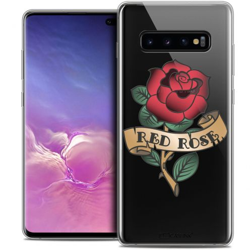 "Coque Crystal Gel Samsung Galaxy S10+ (6.4"") Extra Fine Tatoo Lover - Red Rose"