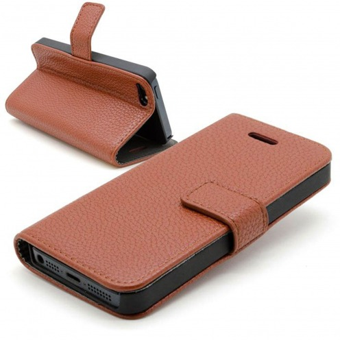 Smart Cover iPhone 5 / 5S / SE Cuirette Pleine Fleur Marron
