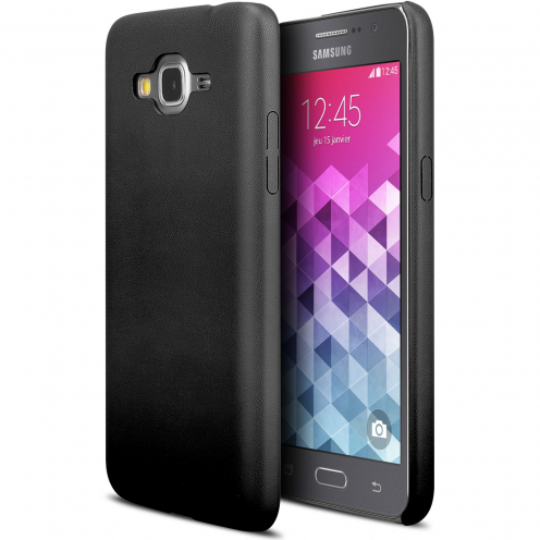 Coque Samsung Galaxy Grand Prime Ultra Fine Skin Touch Cuir Eco Noir