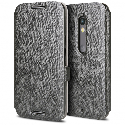 Visuel unique de Etui Motorola Moto X Play Slim Folio Soft Magnet Noir
