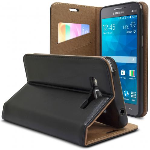 Visuel supplémentaire de Etui Folio Stand Samsung Galaxy Grand Prime Cuir Véritable SmartMagnet Noir