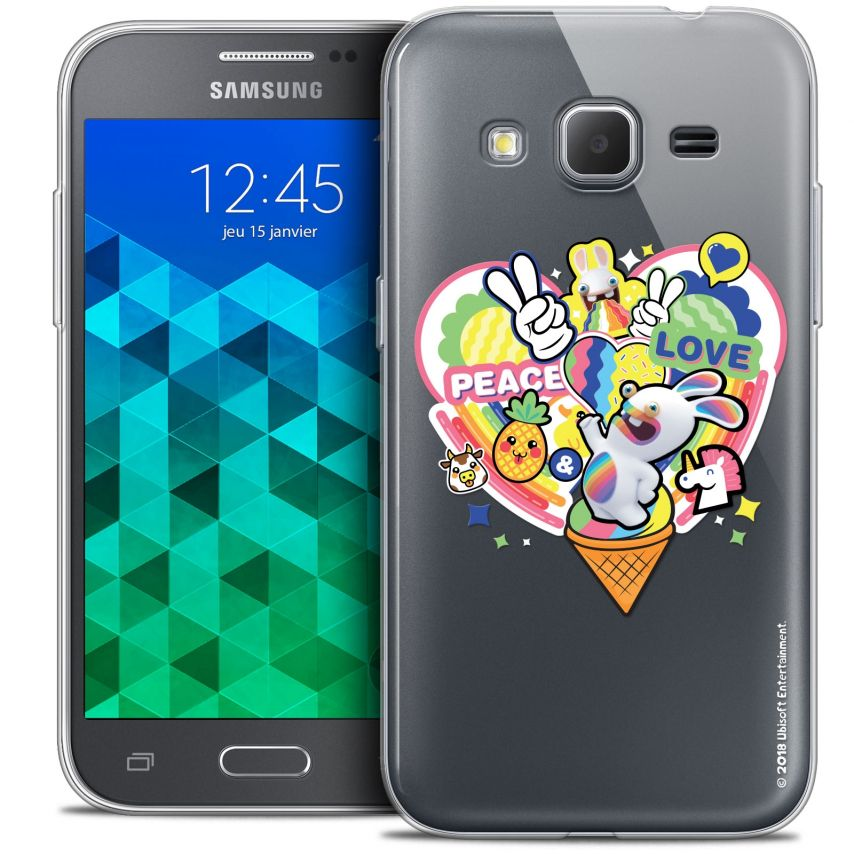 Coque Samsung Galaxy Core Prime (G360) Extra Fine Lapins Crétins™ - Peace And Love