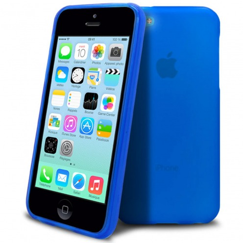 Coque Apple iPhone 5C Frozen Ice Extra Fine Gel Bleu Outremer
