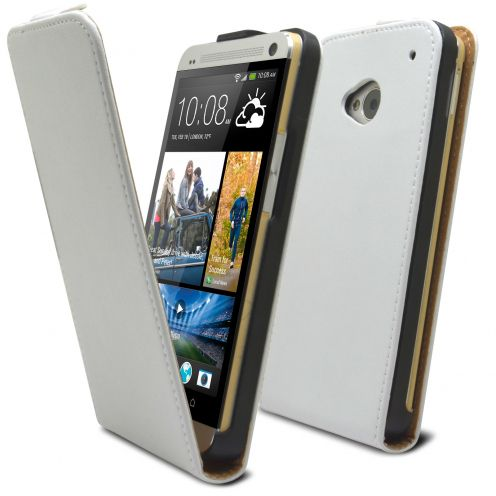 Coque Flip Vertical HTC One M7 Cuirette Eco Blanc