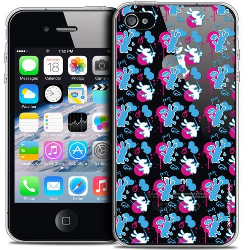 Coque iPhone 4/4s Extra Fine Lapins Crétins™ - Rugby Pattern