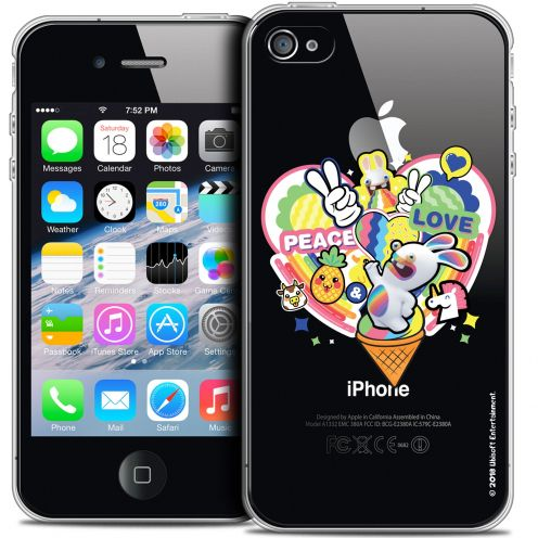 Coque iPhone 4/4s Extra Fine Lapins Crétins™ - Peace And Love
