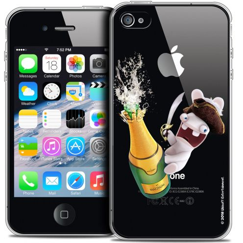 Coque iPhone 4/4s Extra Fine Lapins Crétins™ - Champagne !
