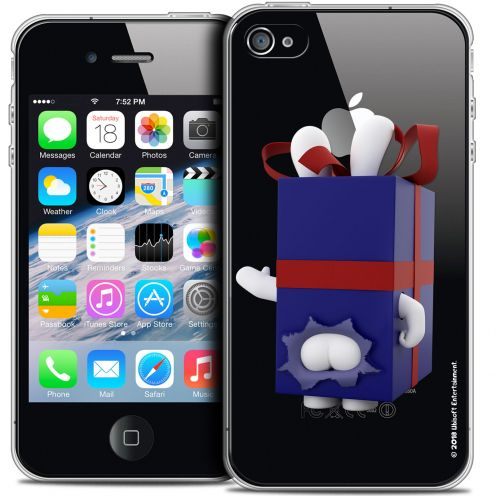 Coque iPhone 4/4s Extra Fine Lapins Crétins™ - Lapin Surprise Bleu
