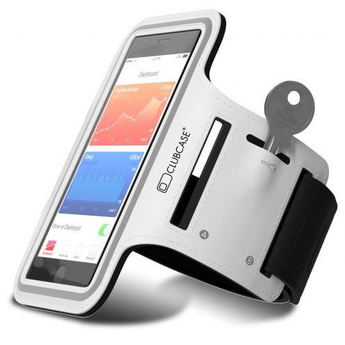 """Vue portée de Brassard Sport Clubcase® T2 iPhone 6/6s+ Smartphone Universel (4.7 à 5.5"""") S/M/L Blanc"""