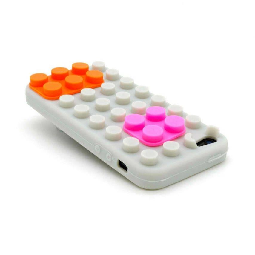 """Vue complémentaire de Coque Blocs Design """"LEGO"""" Grise, orange et rose iPhone 5"""