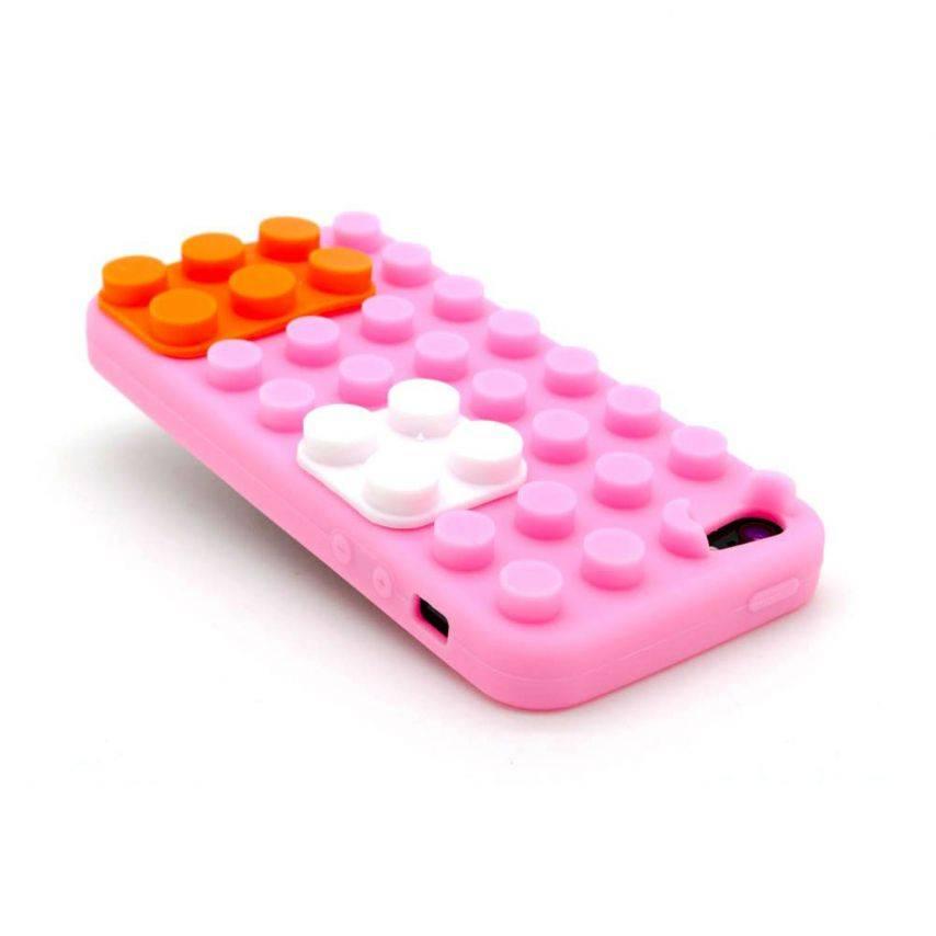 "Vue complémentaire de Coque Blocs Design ""LEGO"" Rose, orange et blanc iPhone 5"
