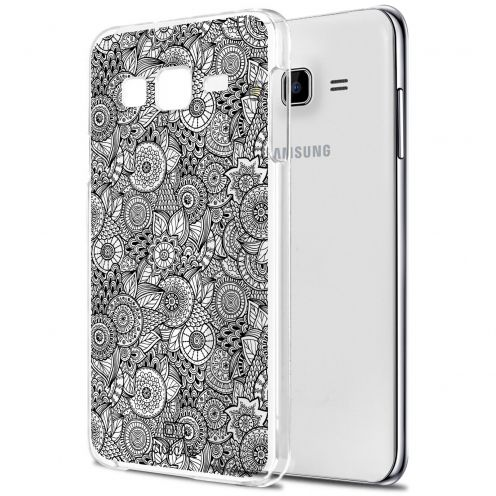 Zoom sur Coque Crystal Galaxy J5 (J500) Extra Fine Texture Dentelle Florale - Blanche