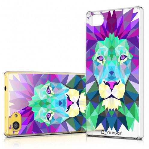 Zoom sur Coque Crystal Xperia Z5 Compact Extra Fine Polygon Animals - Lion