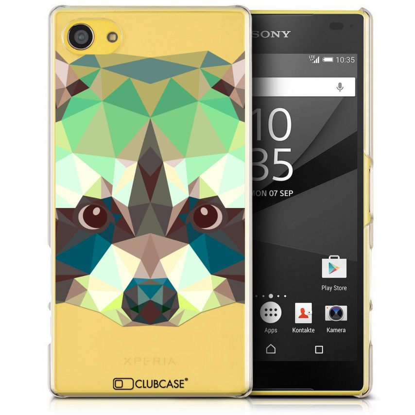 Visuel unique de Coque Crystal Xperia Z5 Compact Extra Fine Polygon Animals - Raton Laveur