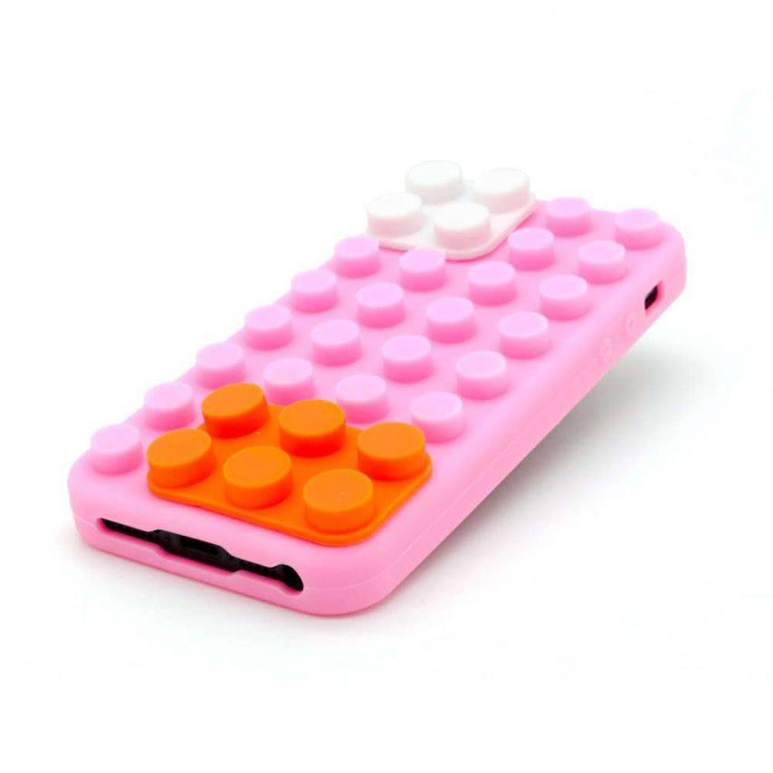 "Vue portée de Coque Blocs Design ""LEGO"" Rose, orange et blanc iPhone 5"