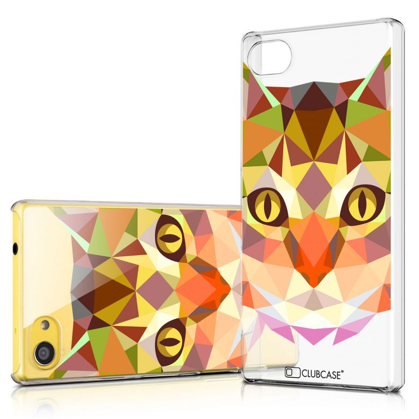 Zoom sur Coque Crystal Xperia Z5 Compact Extra Fine Polygon Animals - Chat