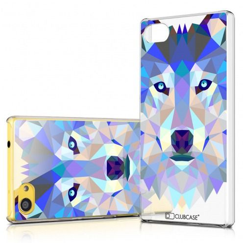 Zoom sur Coque Crystal Xperia Z5 Compact Extra Fine Polygon Animals - Loup